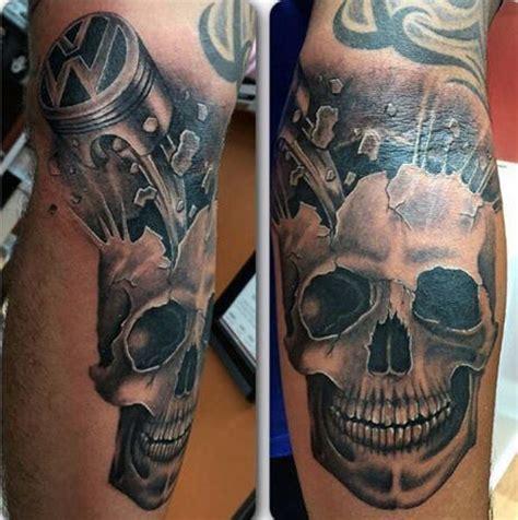 skull and piston tattoos 60 piston tattoo designs for men unleash high horsepower