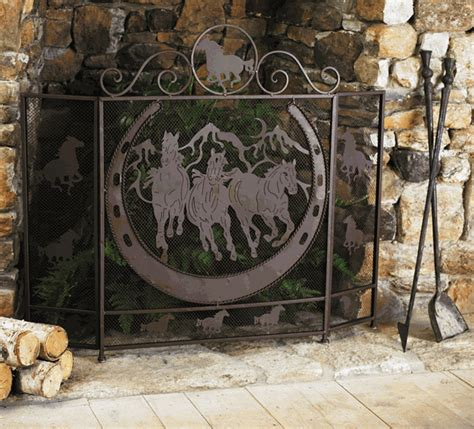western furniture running horses fireplace screen lone