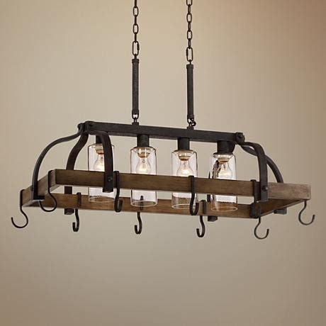 Hanging Pot And Pan Rack With Lights Eldrige 36 1 2 Quot Wide 4 Light Bronze Pot Rack Chandelier