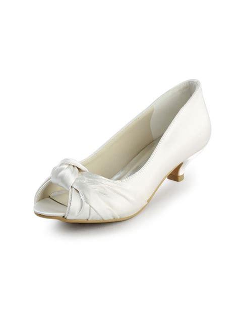 Wedding Shoes Kitten Heel With Peep Toe by S Satin Kitten Heel Peep Toe Sandals White Wedding