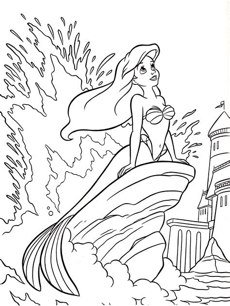 Walt Disney Coloring Pages Princess Ariel Walt Disney Mermaid Coloring Pages Disney