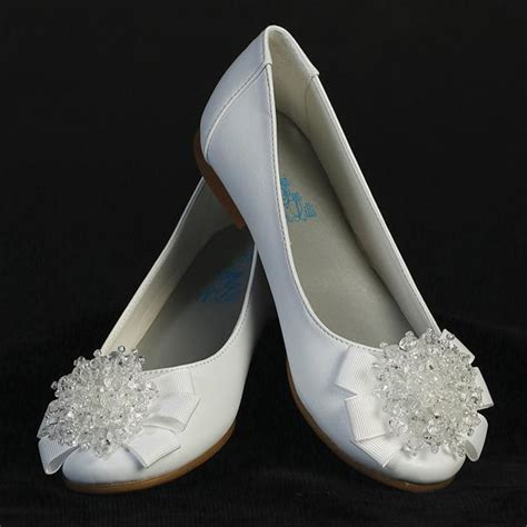 communion shoes white dress shoes flats pearl bow adornment