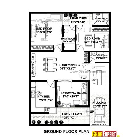 house plan for 35 by 49 plot plot size 191