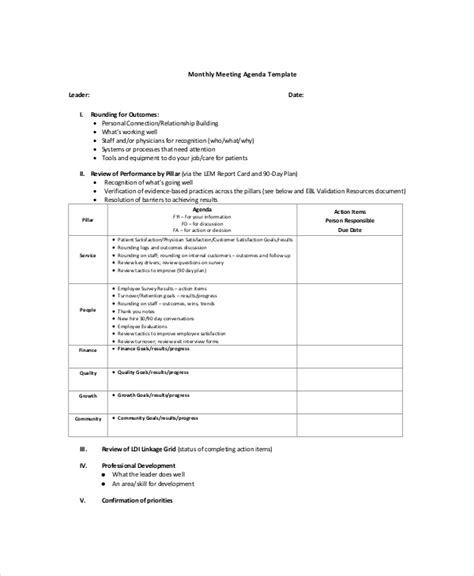 monthly meeting calendar template search results for agenda for business meeting sle