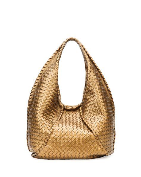 Bottega Veneta Sardegna Butterfly Bag by Lyst Bottega Veneta Cervo Large Metallic Hobo Bag Bronze