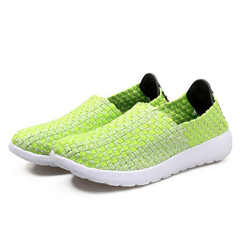 soft sport shoes mixed color handmade weave knitting flat soft sport shoes