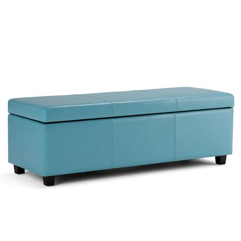 Simpli Home Avalon Large Rectangular Storage Ottoman Bench Storage Ottomans