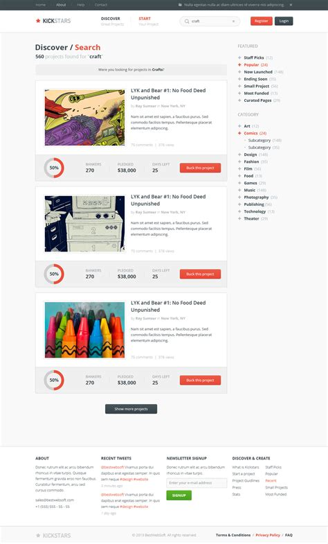 kickstars crowdfunding psd template by bestwebsoft