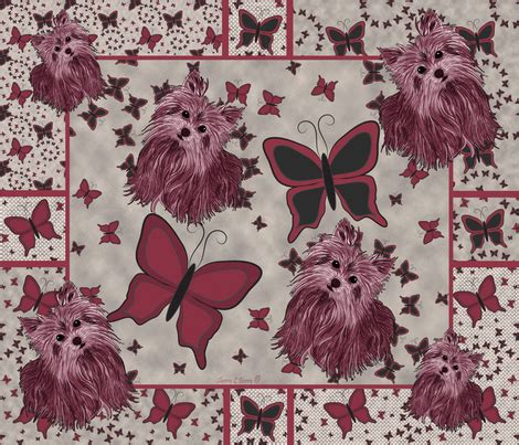 yorkie quilt yorkie more butterfly quilt panel wallpaper sherry savannah spoonflower
