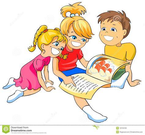 clipart bambini kinder die ein buch lesen stock abbildung illustration