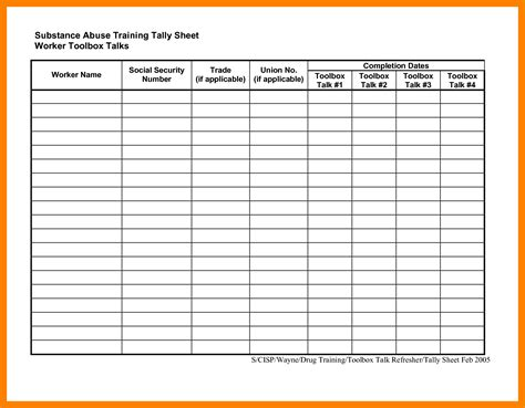nice tally sheet template component exle resume and