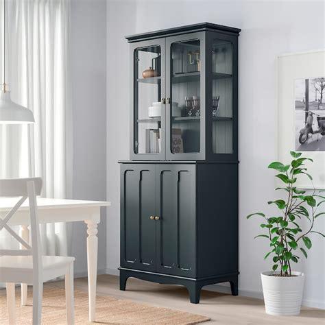 lommarp dark blue green cabinet  glass doors