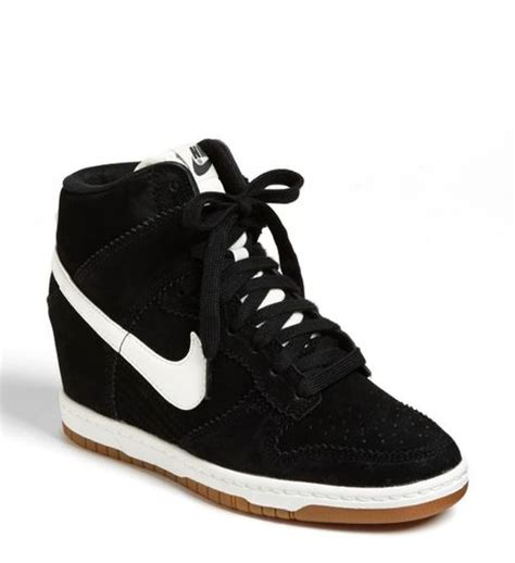 black sneaker wedge nike dunk sky hi wedge sneaker in black black white lyst