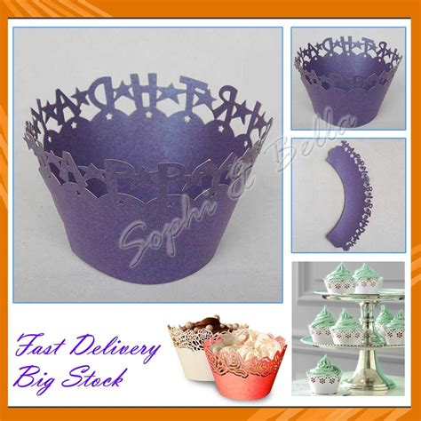 Where Can I Buy Wedding Cake Decorations by Wholesale 60 Pcs W006p Purple Cupcake Wrappers For