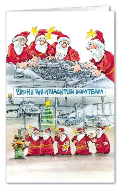werkstatt vom weihnachtsmann weihnachtskarte branchenkarte teamkarte autohaus frohe