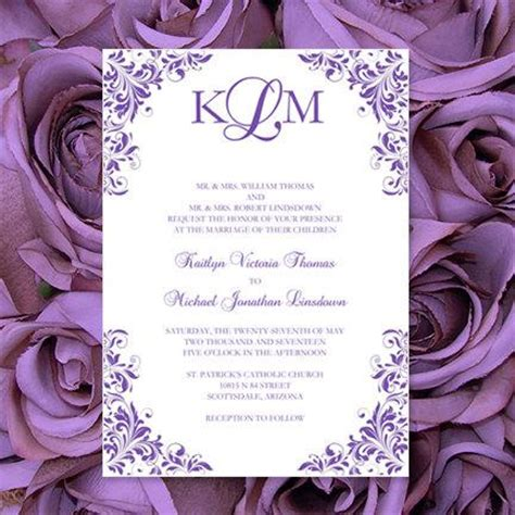 Purple Wedding Invitations Quot Kaitlyn Quot Printable Templates Make Your Own Invitations All Colors Av Make Your Own Wedding Invitations Templates