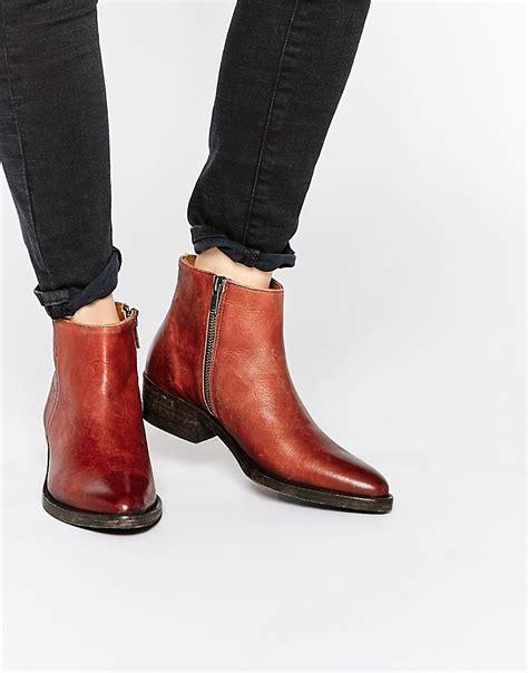 cognac boots selected selected femme bobi cognac leather ankle boots