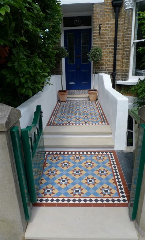 victorian multi coloured mosaic garden tile path