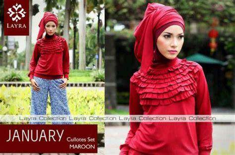Stelan Kulot Blue january by layra maroon baju muslim gamis modern