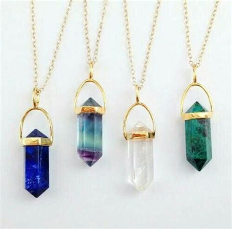 Gem Necklace i want all if these gem necklaces gold accessories