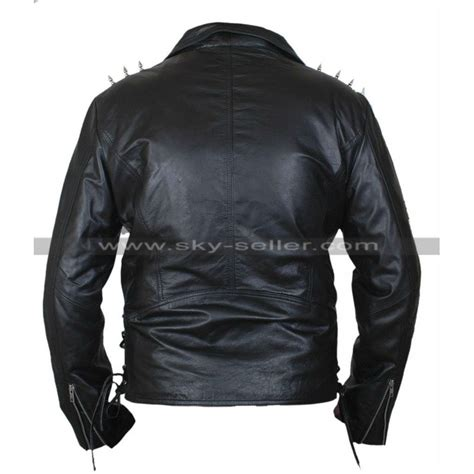 Jaket Black Ghost Inter ghost rider nicolas cage metal spikes leather jacket