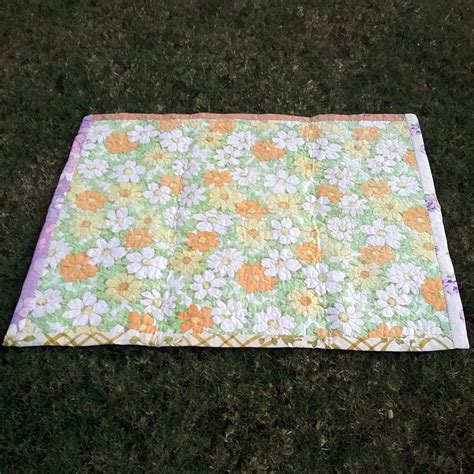Patchwork Sheets - upcycled vintage sheet patchwork quilt vintage chenille