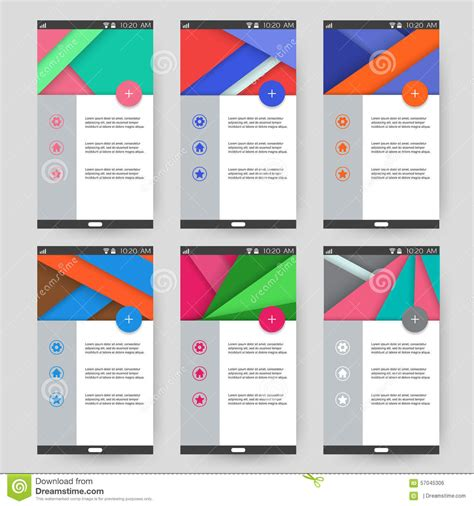 Set Of User Interfaces Templates Material Design Stock Illustration Image 57045306 Mail App Templates