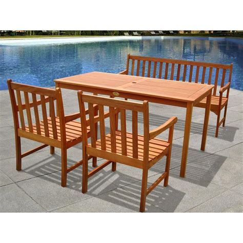 Patio Dining Sets For 4 Vifah Garden Eucalyptus 4 Patio Dining Set V98set16 The Home Depot