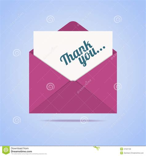 Thank You Letter Envelope colorful envelope with thank you letter stock vector