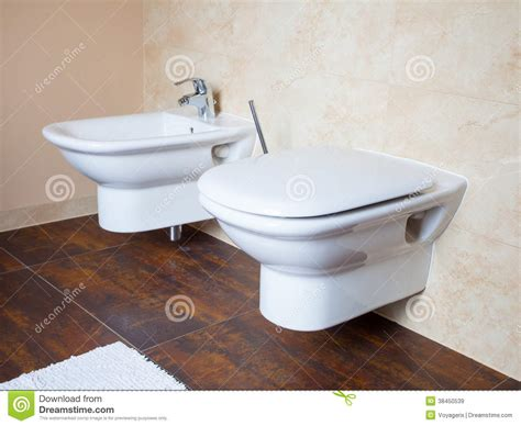 Bidet Hygiene Hygiene White Porcelain Bidet And Toilet Interior Of