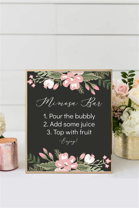 pretty botanical printable mimosa bar sign chicfetti