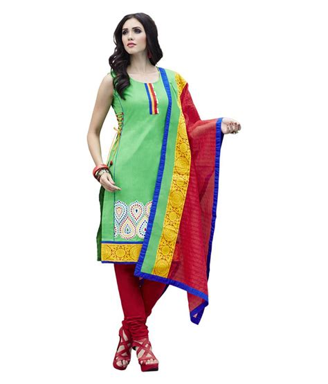 Es Span Dress span green silk unstitched dress material available at