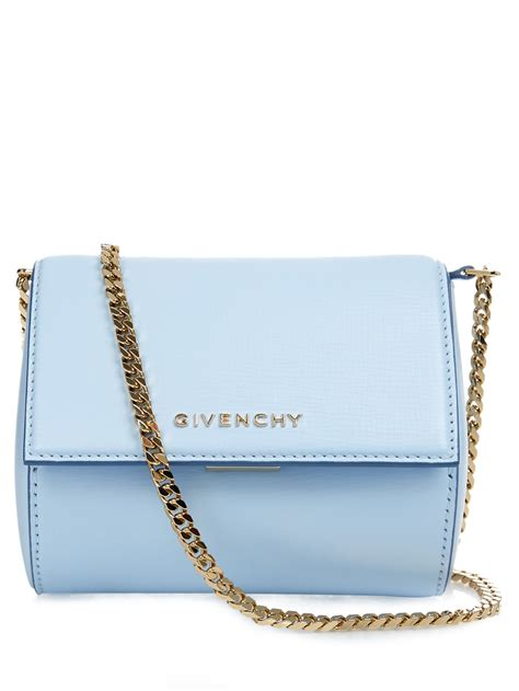 light blue crossbody bag givenchy pandora box leather cross body bag in blue lyst