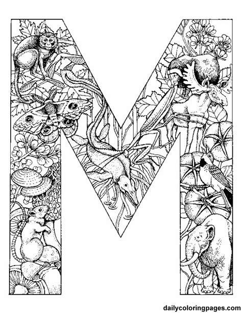 daily coloring pages alphabet free printable colouring initials each initial is filled
