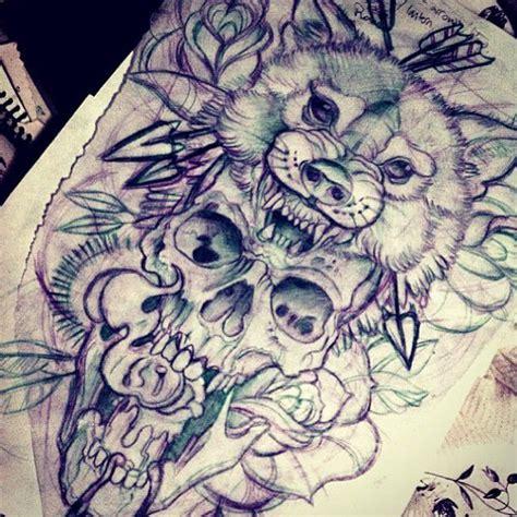 tattoo illustration pinterest wolf and skull tattoo sketch by me tattoo designs