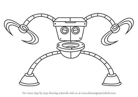 how to toilet an learn how to draw robo toilet 30000 from breadwinners breadwinners step by step