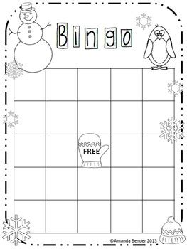 this blank bingo sheet is decorated for winter and ready