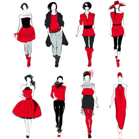 fashion illustration vector file vector fashion design elements 02 millions