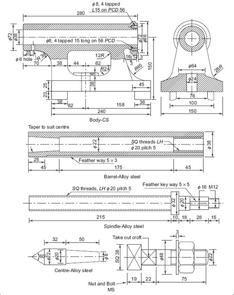 sectional views in machine drawing 2 tailstock machine drawing book