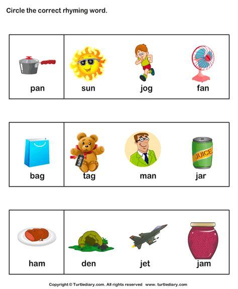Rhyming Words Worksheets For Kindergarten by Identify Words That Rhyme 6 Worksheet Turtlediary