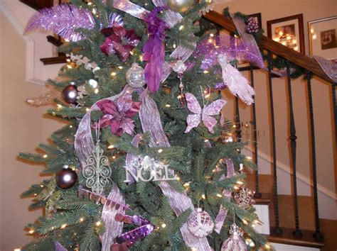 decoration amazing purple and silver christmas tree