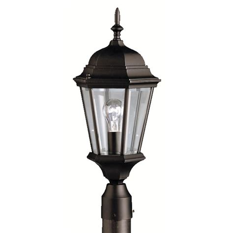 Kichler Post Lights Kichler Post Light With Clear Glass In Black Finish 9956bk Destination Lighting