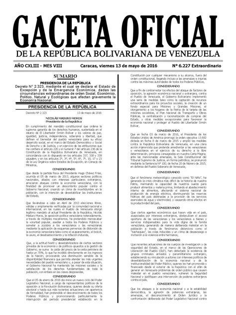 ultima hora gaceta oficial publica modificaciones de la gaceta oficial 40993 el decreto de estado de excepci 243 n 1