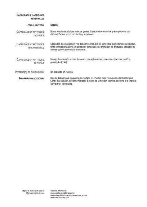 Modelo Curriculum Inem Modelo Europeo De Curriculum