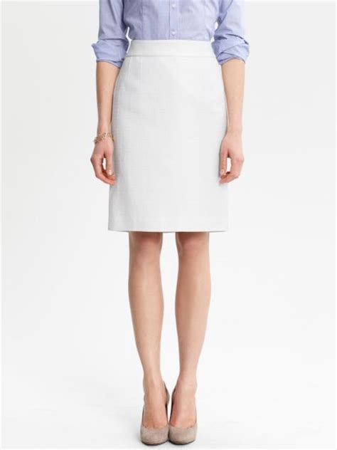 banana republic textured cotton pencil skirt in white lyst