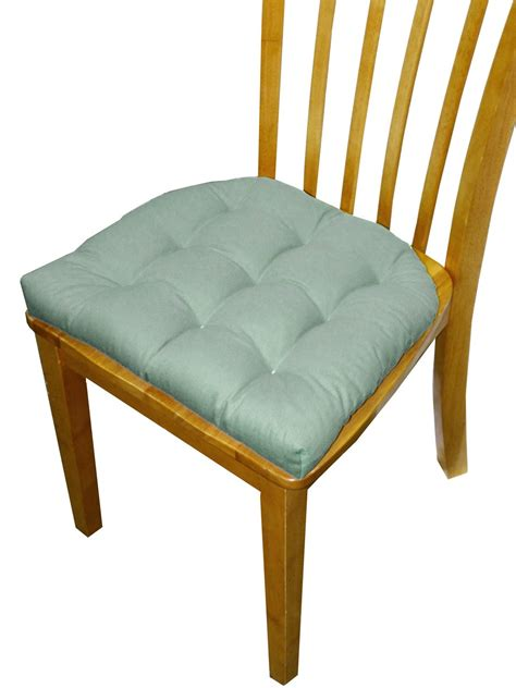 Dining Chair Cushions With Ties Dining Chair Pad With Ties 9 Tack Tufted In Ranger Aqua Spa Solid Color Cotton Twill