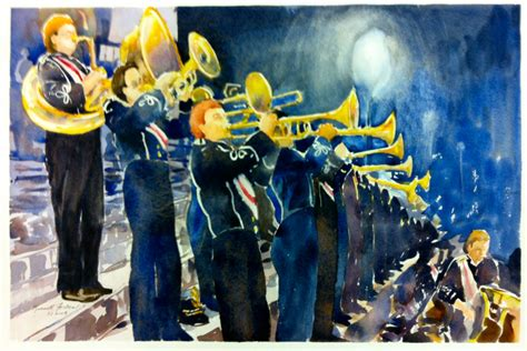 marching band brass section original watercolor large painting
