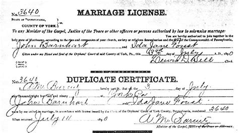 York County Marriage License Records York County Pa Usgenweb Archives Marriage Records