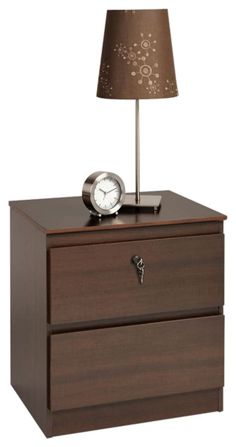 20 Inch Bedside Table Prepac Avanti Espresso 20 Inch 2 Drawer Nightstand With