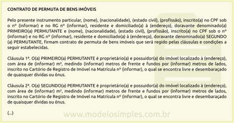 modelo de contrato de permuta modelo de contrato de permuta de bens im 243 veis